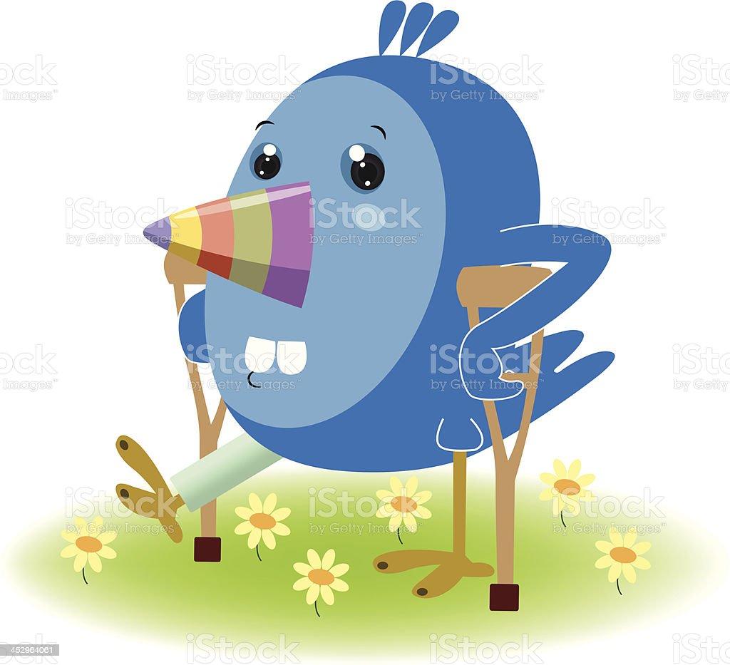 Injured Blue Bird vector art illustration