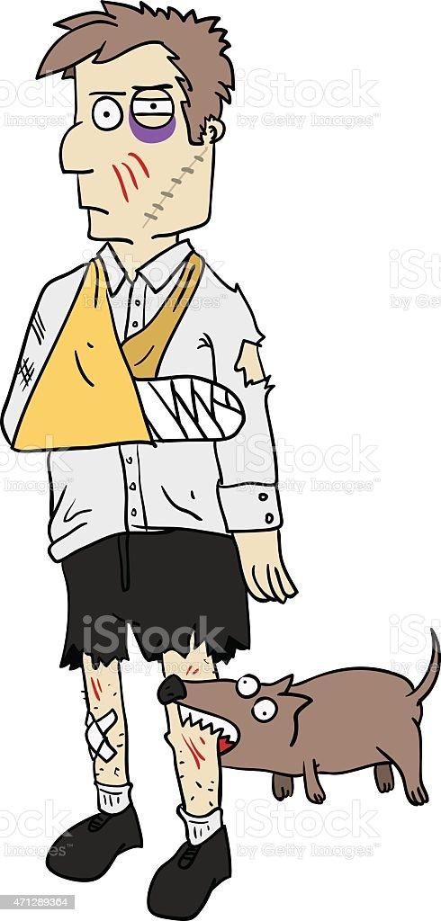Injured businessman vector art illustration