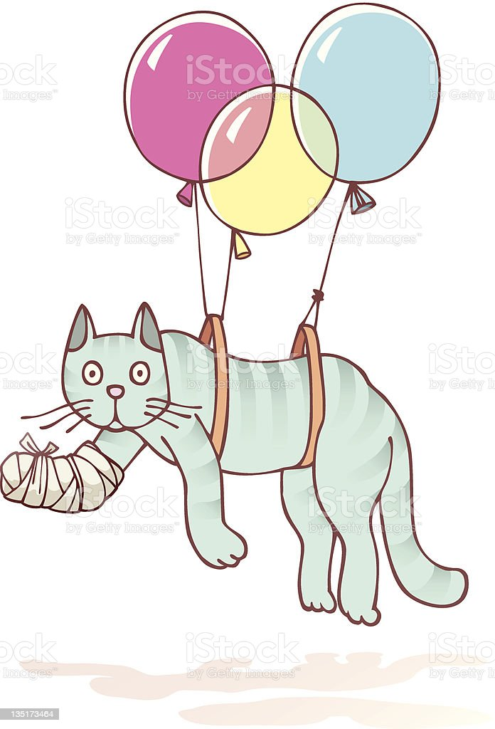Injured cat with the damaged paw vector art illustration