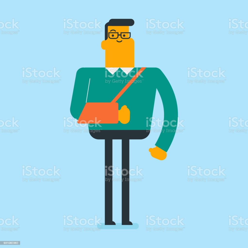 Injured caucasian white man with broken arm vector art illustration