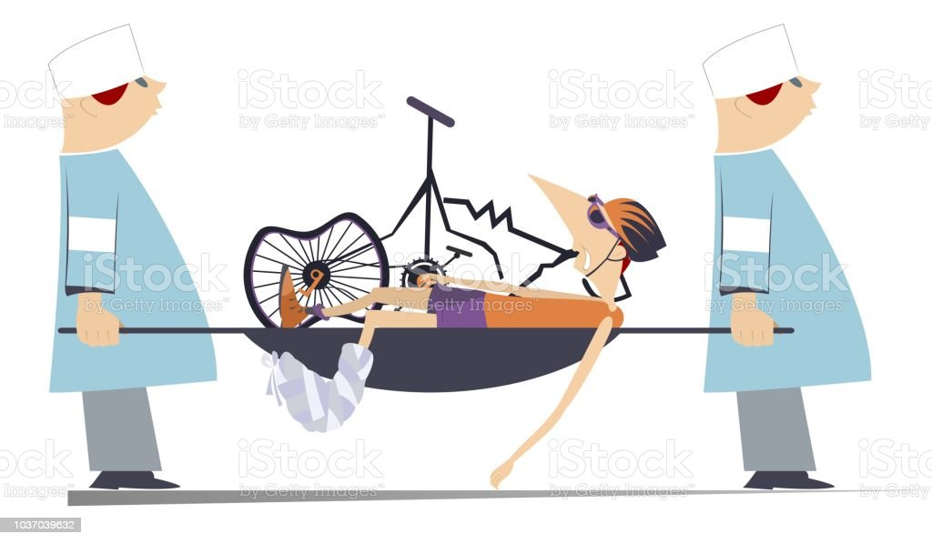 Injured cyclist, broken bike and two physicians illustration vector art illustration