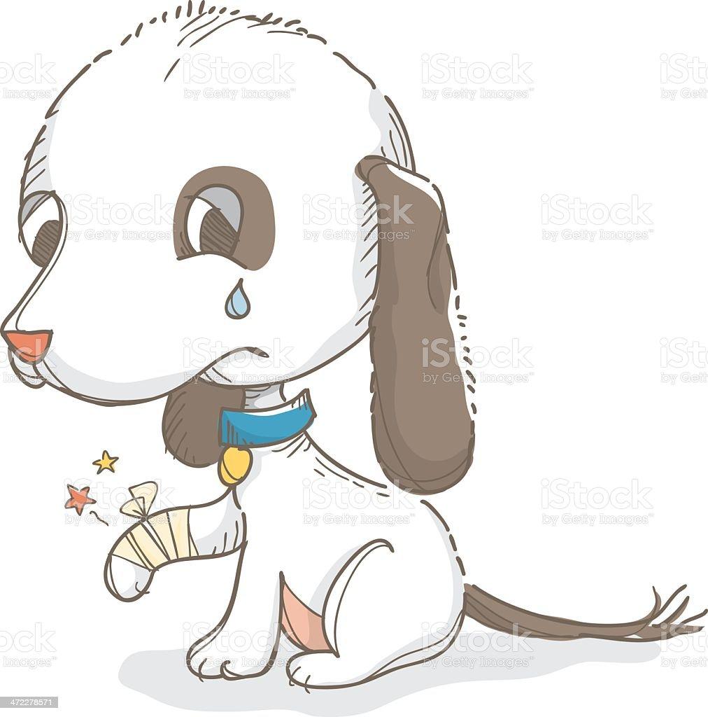 Injured dog vector art illustration