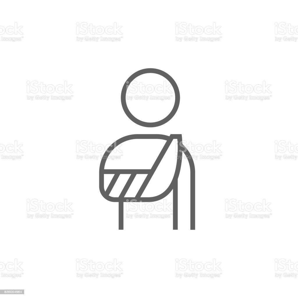 Injured man line icon vector art illustration