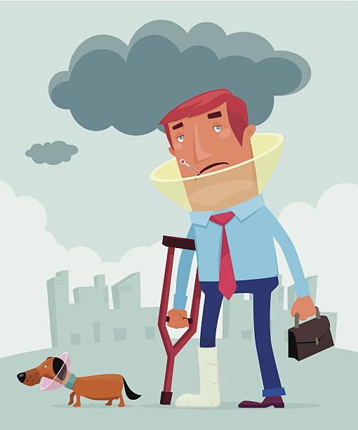 injured man vector art illustration
