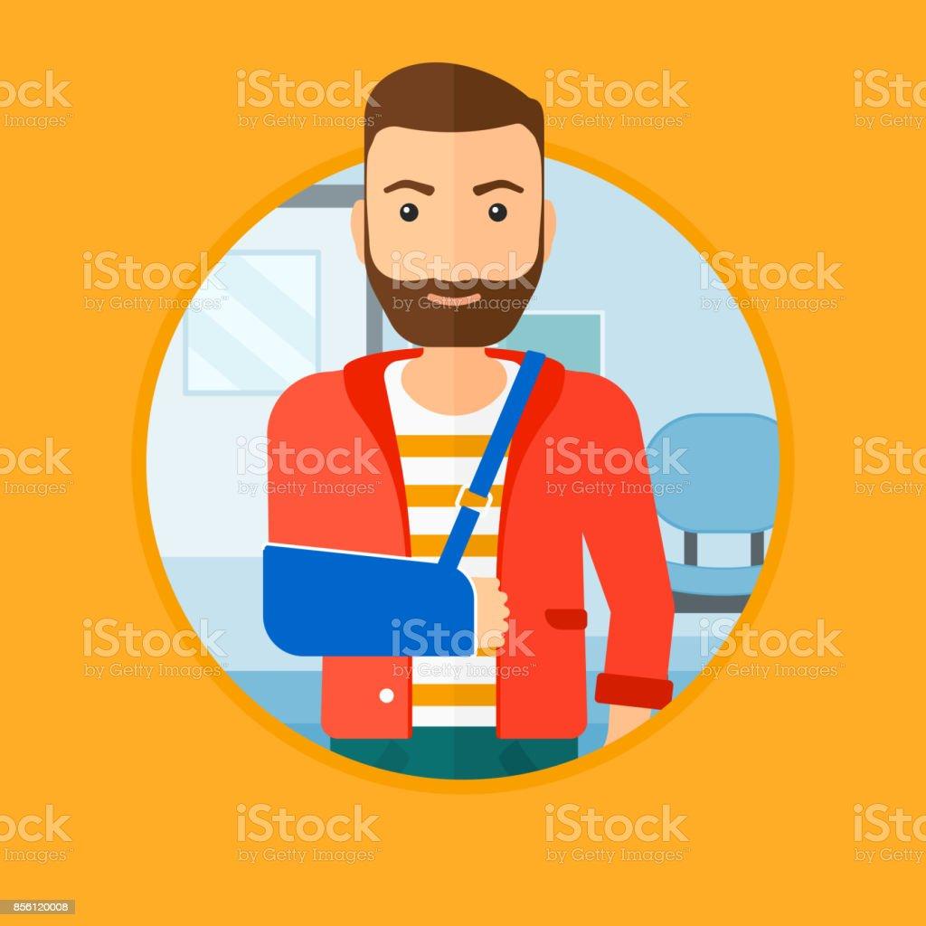 Injured man with broken arm vector art illustration