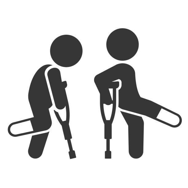 怪我人松葉杖アイコンを設定します。ベクトル - 杖点のイラスト素材/クリップアート素材/マンガ素材/アイコン素材