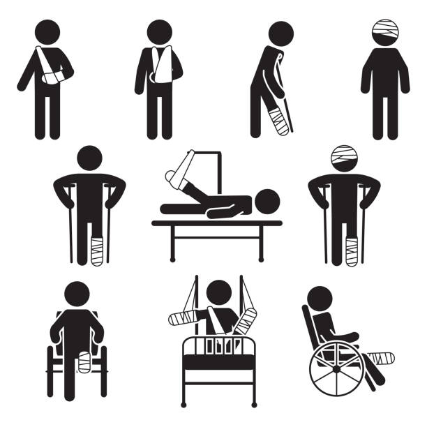 Injured people icon set. Vector. Injured people icon set. Vector. eps10. human representation stock illustrations
