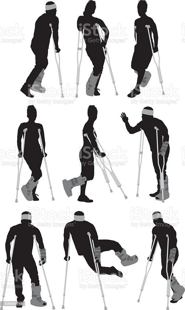 Injured people in various actions vector art illustration