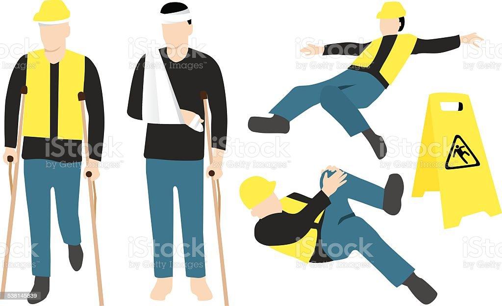 injured worker vector art illustration
