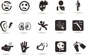 Injury and Medical Icons.  Professional Vector Icons with High resolution jpeg and transparent PNG file.
