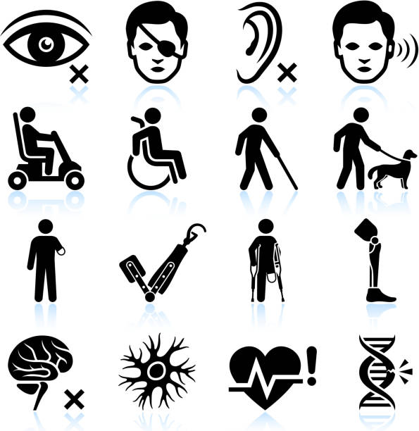 Injury and Disability black & white vector icon set vector art illustration