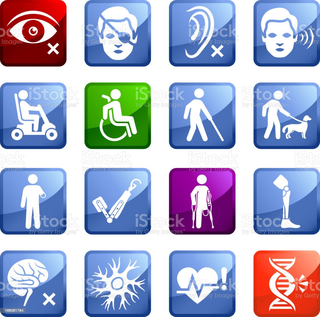 Injury and Disability royalty free vector icon set stickers royalty-free stock vector art