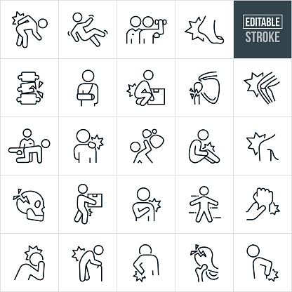 A set of injury and pain icons that include editable strokes or outlines using the EPS vector file. The icons include a person with a back injury, person falling, injured person doing rehab with a personal trainer or physical therapist, foot injury, people in pain, fractured spine, person in a sling with a broken arm, person injuring back by lifting box, fractured arm, knee pain, physical therapist helping patient, person with shoulder injury, rocks falling on person, fractured skull, wrist injury, person with headache and fractured hip among others.