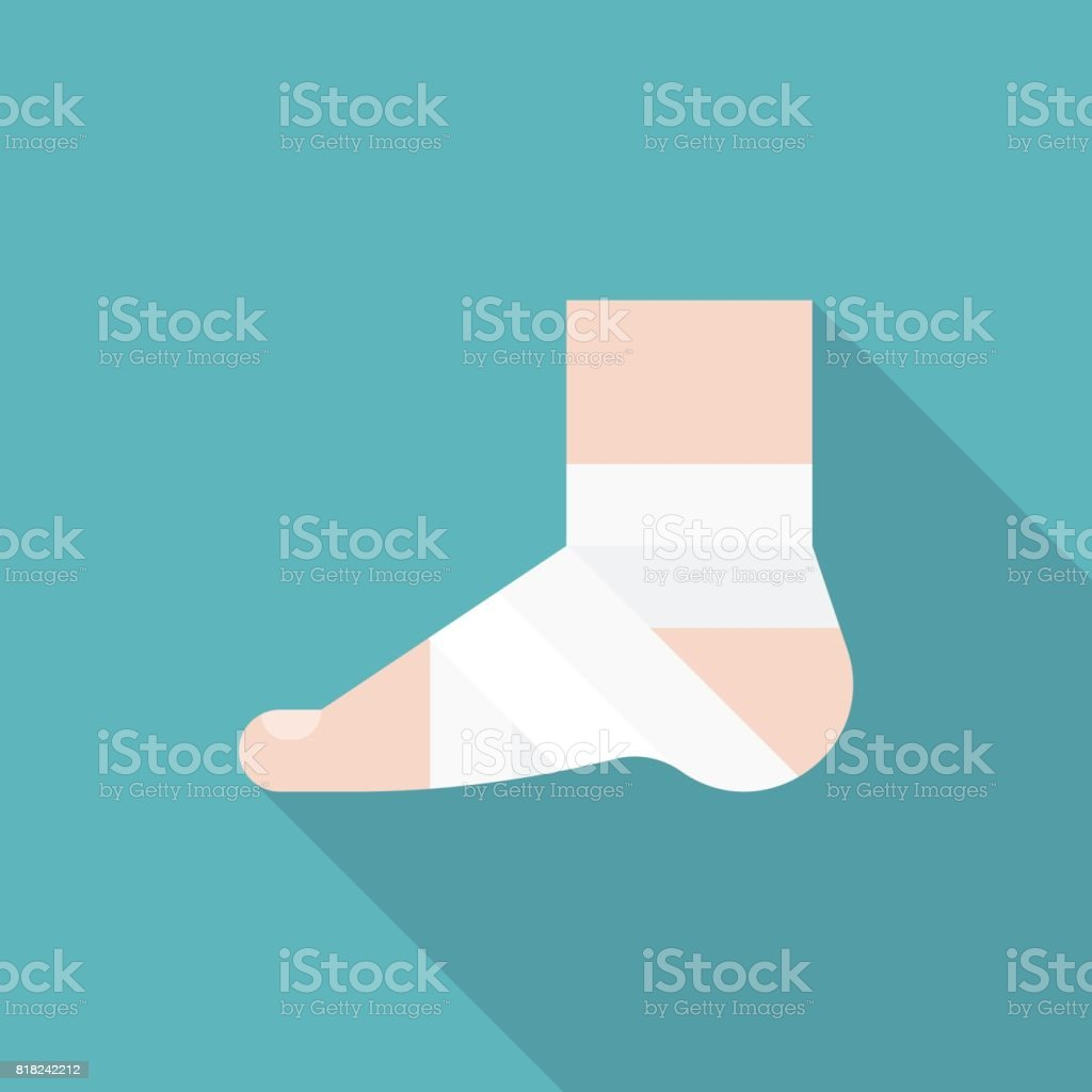 Injury Ankle and foot wrap in white elastic bandage icon vector art illustration