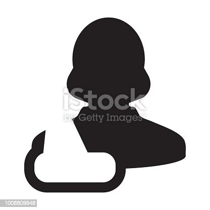 Injury Icon Vector Of Female Person Profile Avatar Symbol For