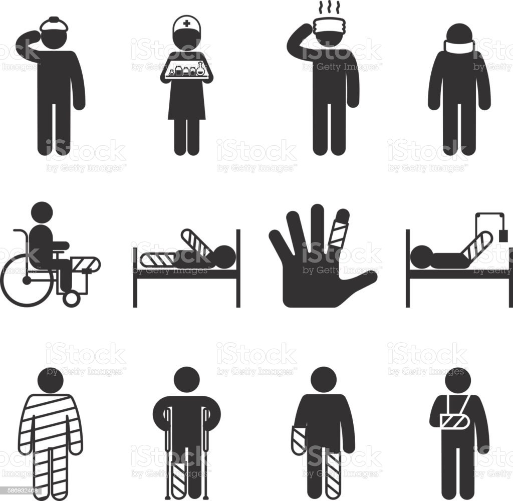 Injury icons. Trauma and sickness vector art illustration