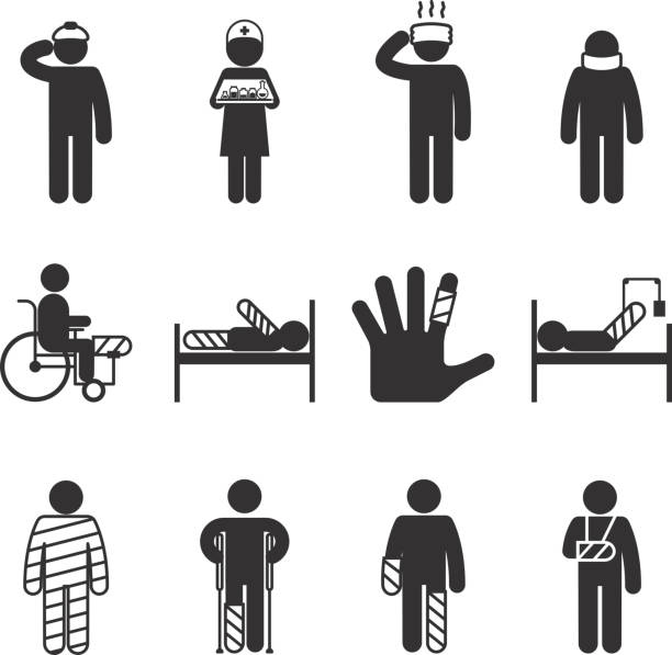 injury icons. trauma and sickness - knochenbruch stock-grafiken, -clipart, -cartoons und -symbole