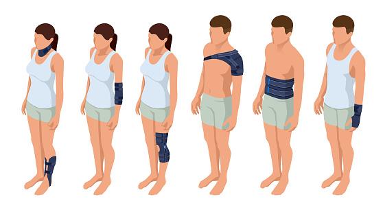 Injury neck, shoulder, arm, leg, back, osteoporosis. Immobilizer. Rehabilitation after trauma. Orthopedics and medicine. Isometric Vector illustration