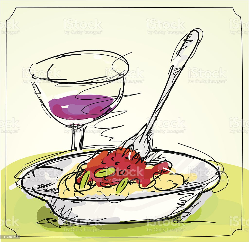 Ink and color sketch of a bowl of pasta with red wine vector art illustration