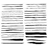 Vector illustration of a collection of ink and pencil brushes that can also be used as dividers and banners in all kinds of design projects. Hand drawn design elements with a grunge and natural feel.