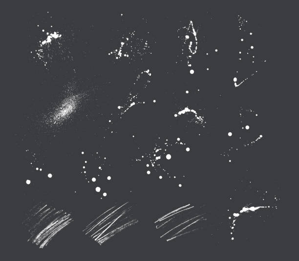 ink blots and pencil strokes - spray stock illustrations