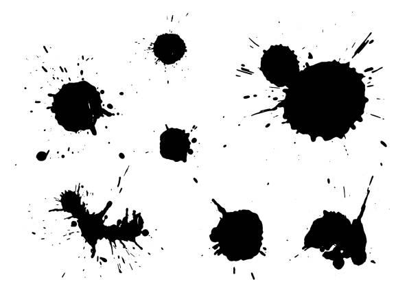 чернила пятна изолированы на белом фоне - краска stock illustrations