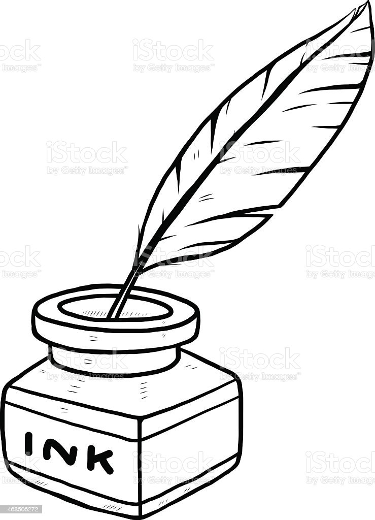 Line Art Ink : Ink bottle and feather stock vector art more images of
