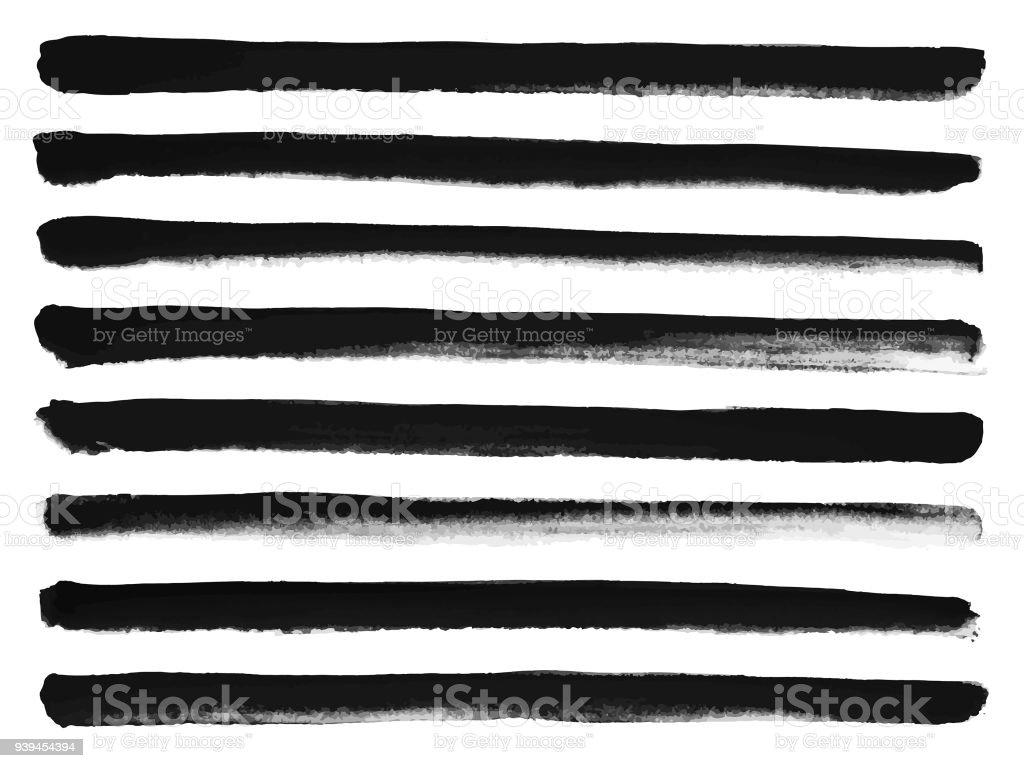 D'encre Brush Stroke Set - lignes droites - Illustration vectorielle