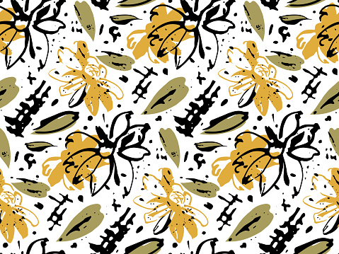 Ink Brush Stroke Vector Seamless Pattern. Hand painted orient grunge style design. Sun flower illustration in yellow, green, balck color palette
