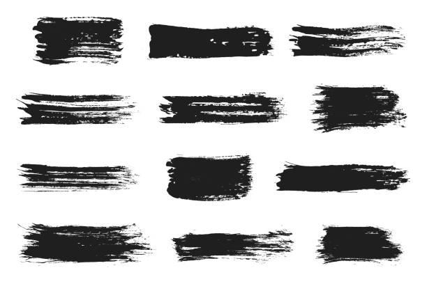 ilustrações, clipart, desenhos animados e ícones de conjunto de traçados de pincel tinta. tinta acrílica com pinceladas de textura grunge. manchas de tinta preta suja - planos de fundo borrados