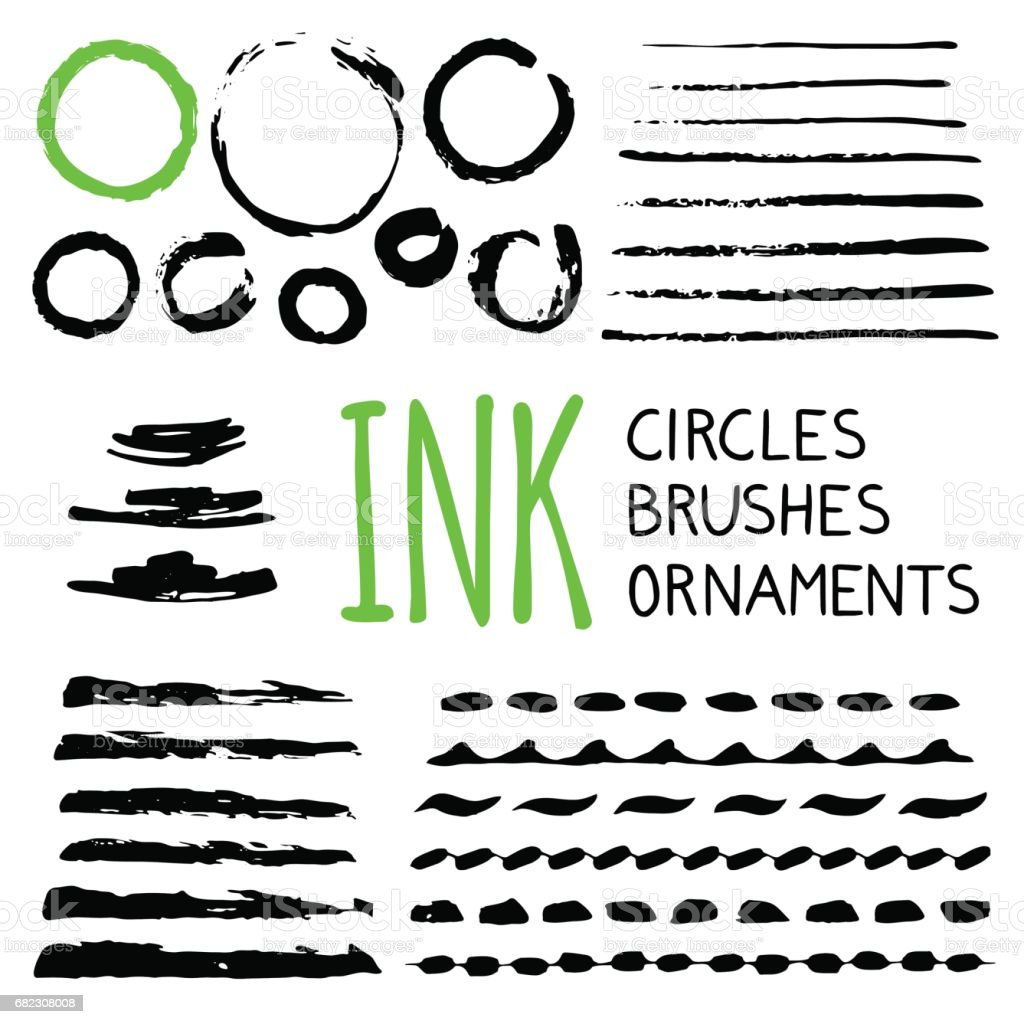 Ink brushes , dividers and ornaments vector art illustration
