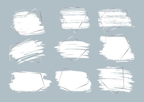 Ink brushes strokes silver frame banner vector set