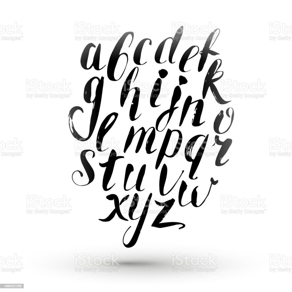 Ink Calligraphy English Alphabet Stock Vector Art