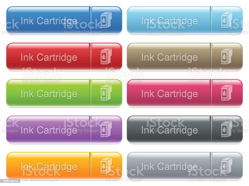 Ink cartridge captioned menu button set vector art illustration