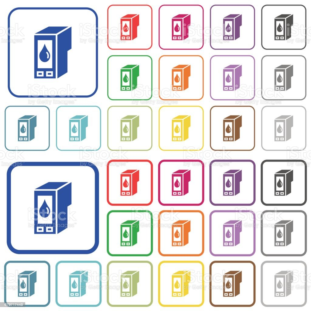Ink cartridge color outlined flat icons vector art illustration
