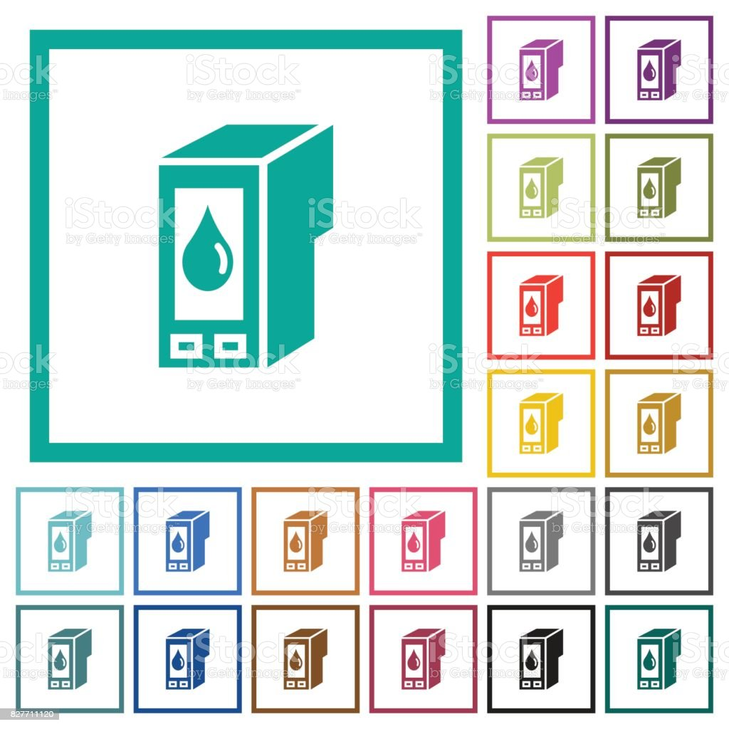 Ink cartridge flat color icons with quadrant frames vector art illustration