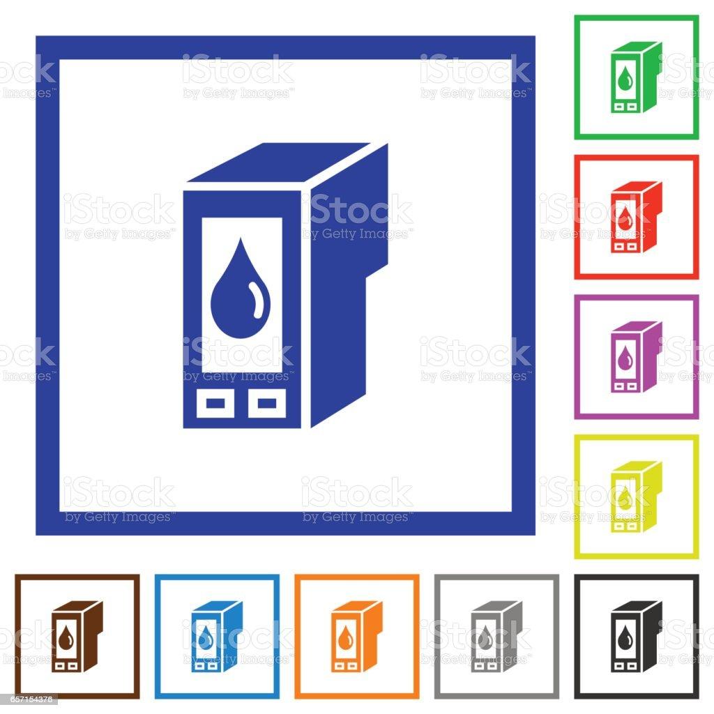 Ink cartridge framed flat icons vector art illustration
