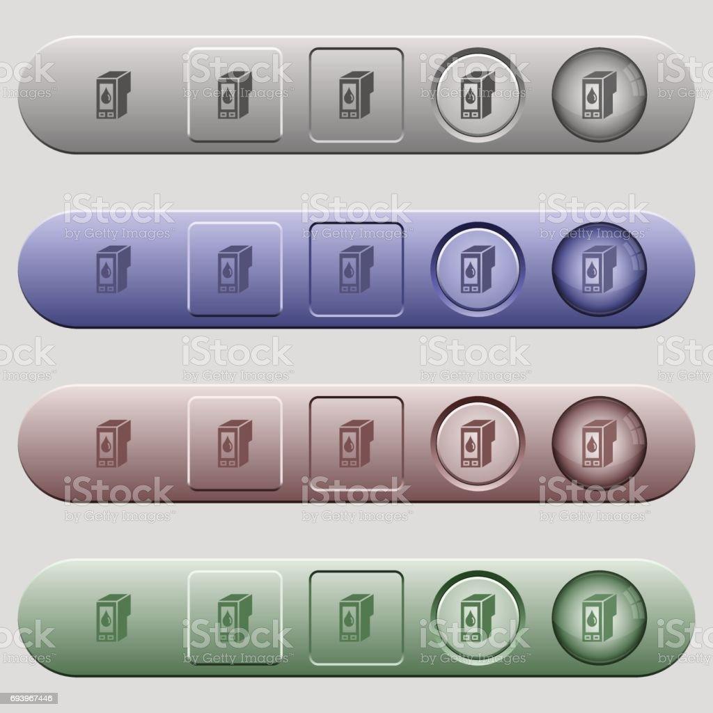 Ink cartridge icons on menu bars vector art illustration