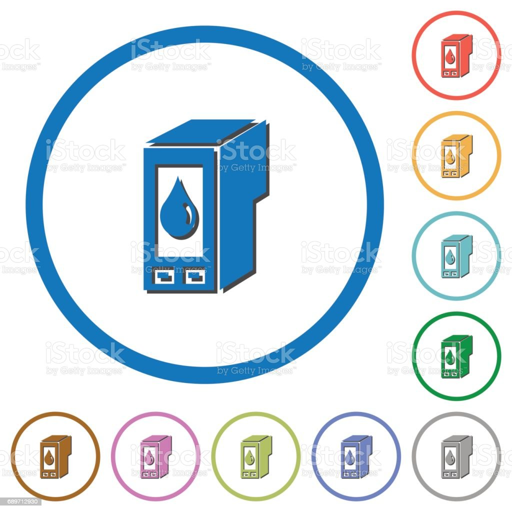 Ink cartridge icons with shadows and outlines vector art illustration