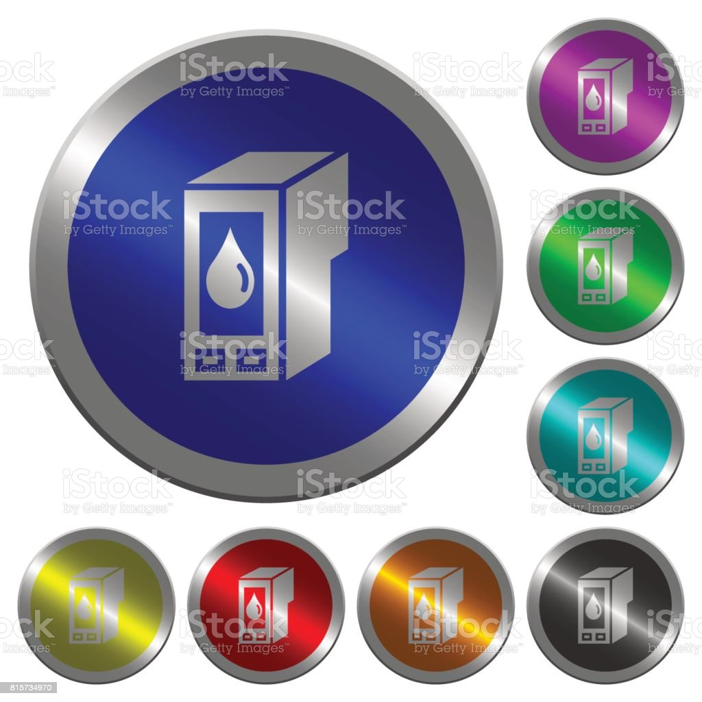 Ink cartridge luminous coin-like round color buttons vector art illustration