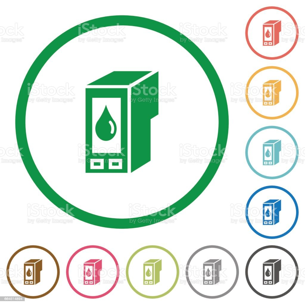 Ink cartridge outlined flat icons vector art illustration