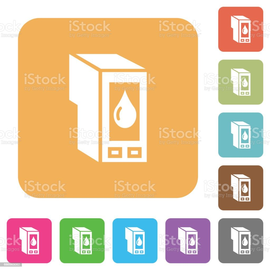 Ink cartridge rounded square flat icons vector art illustration