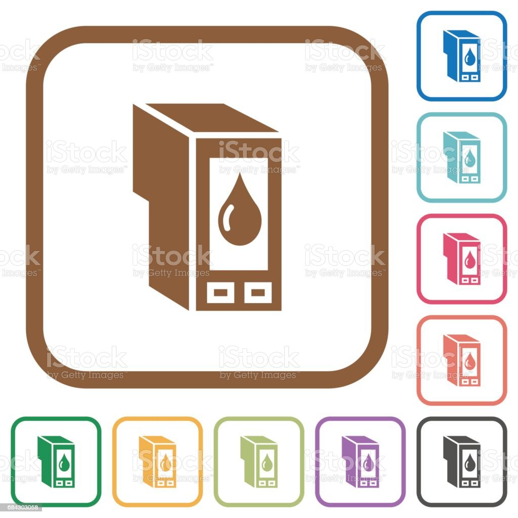 Ink cartridge simple icons vector art illustration