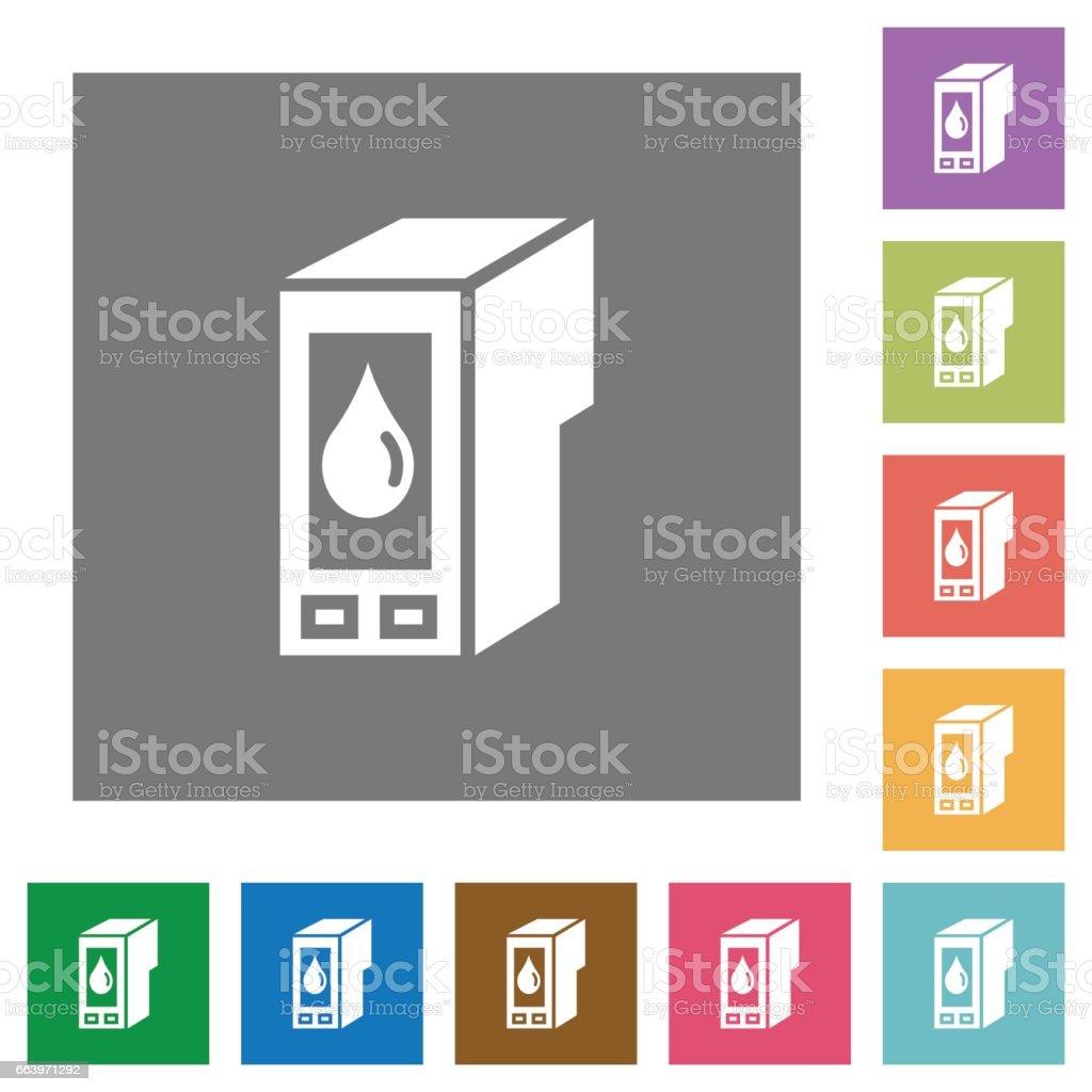 Ink cartridge square flat icons vector art illustration
