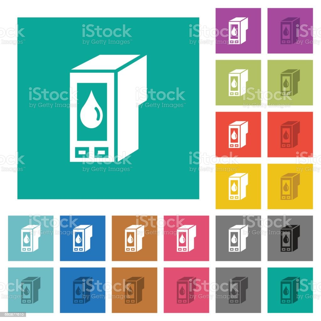 Ink cartridge square flat multi colored icons vector art illustration