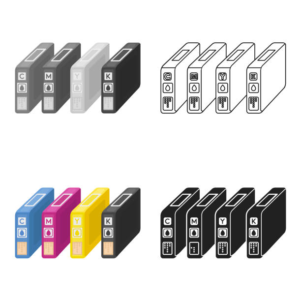 Ink cartridges in cartoon style isolated on white background. Typography symbol stock vector illustration web - illustrazione arte vettoriale