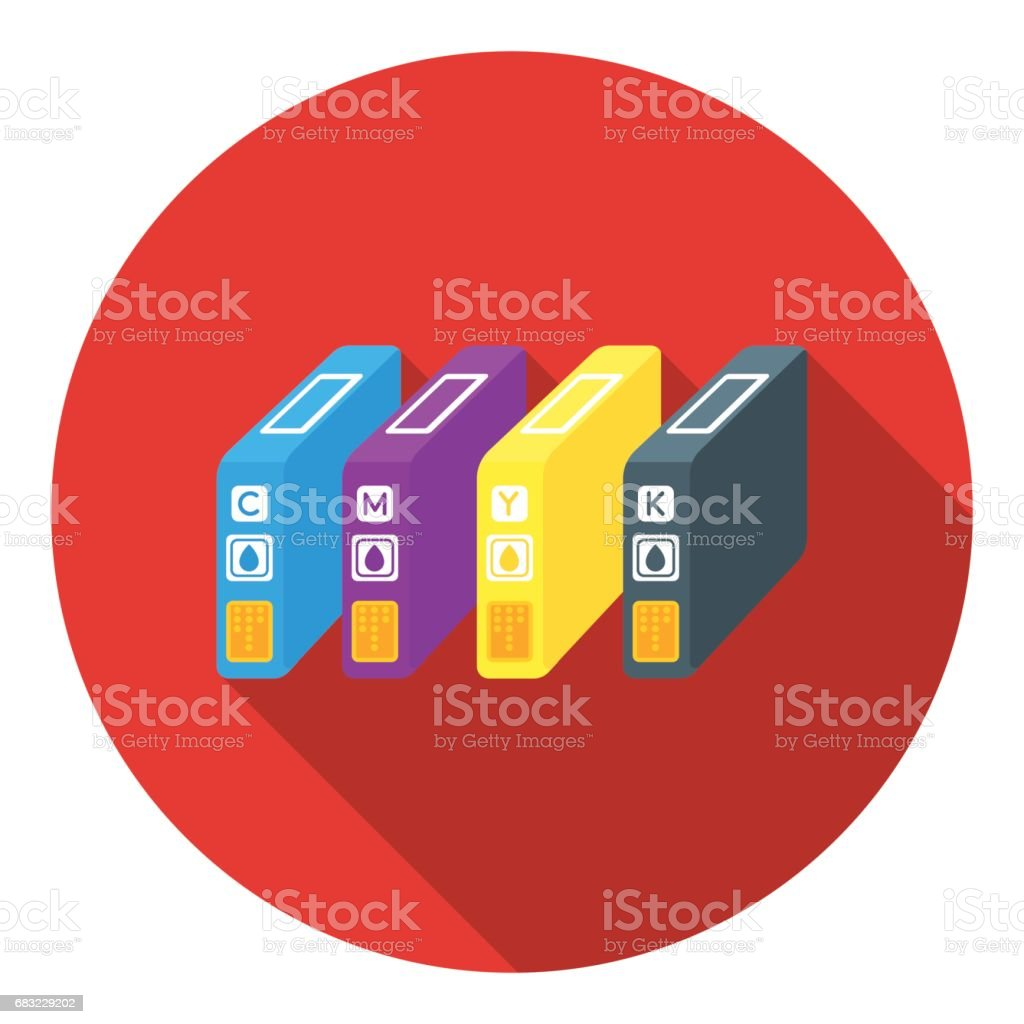 Ink cartridges in flat style isolated on white background. Typography symbol stock vector illustration. royalty-free ink cartridges in flat style isolated on white background typography symbol stock vector illustration cmyk에 대한 스톡 벡터 아트 및 기타 이미지
