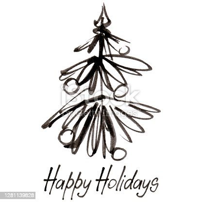 istock Ink Christmas tree with Happy Holidays inscription 1281139828