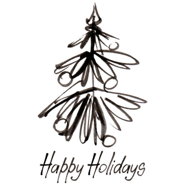 Ink Christmas tree with Happy Holidays inscription vector art illustration