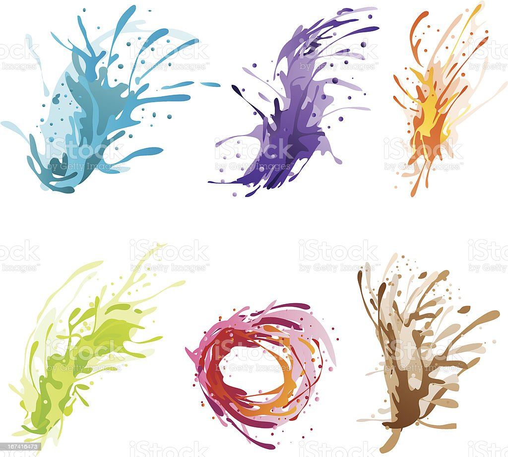 Ink Color Brush vector art illustration